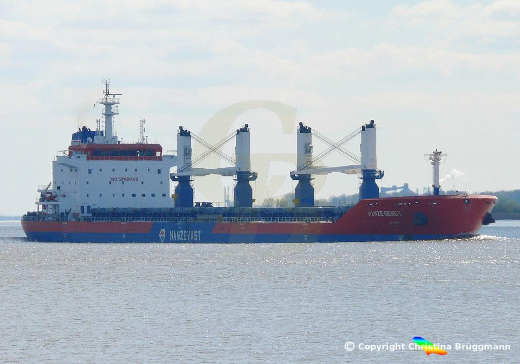Bulk Carrier HANZE GENDT, Elbe 10.04.2019,  BILD 2