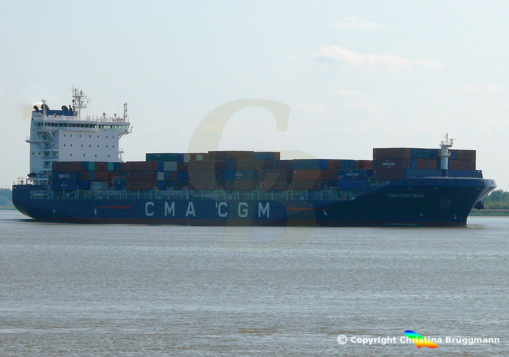 Container-Feeder CMA CGM NEVA, Elbe 04.09.2018,  BILD 3