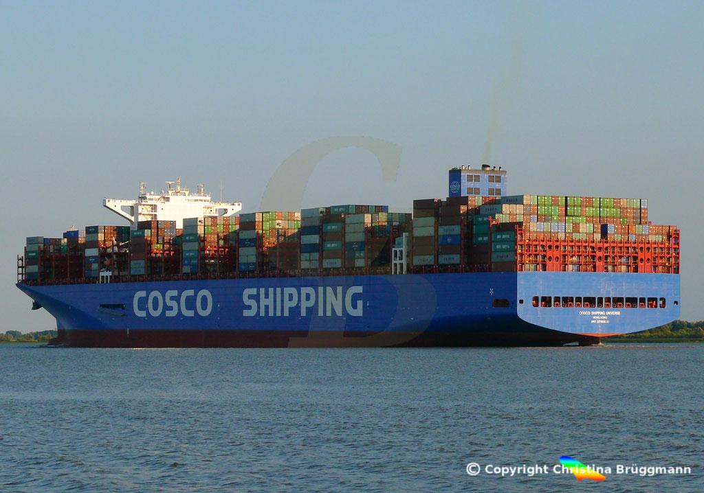 Containerschiff COSCO SHIPPING UNIVERSE, Elbe 19.07.2018, BILD 4