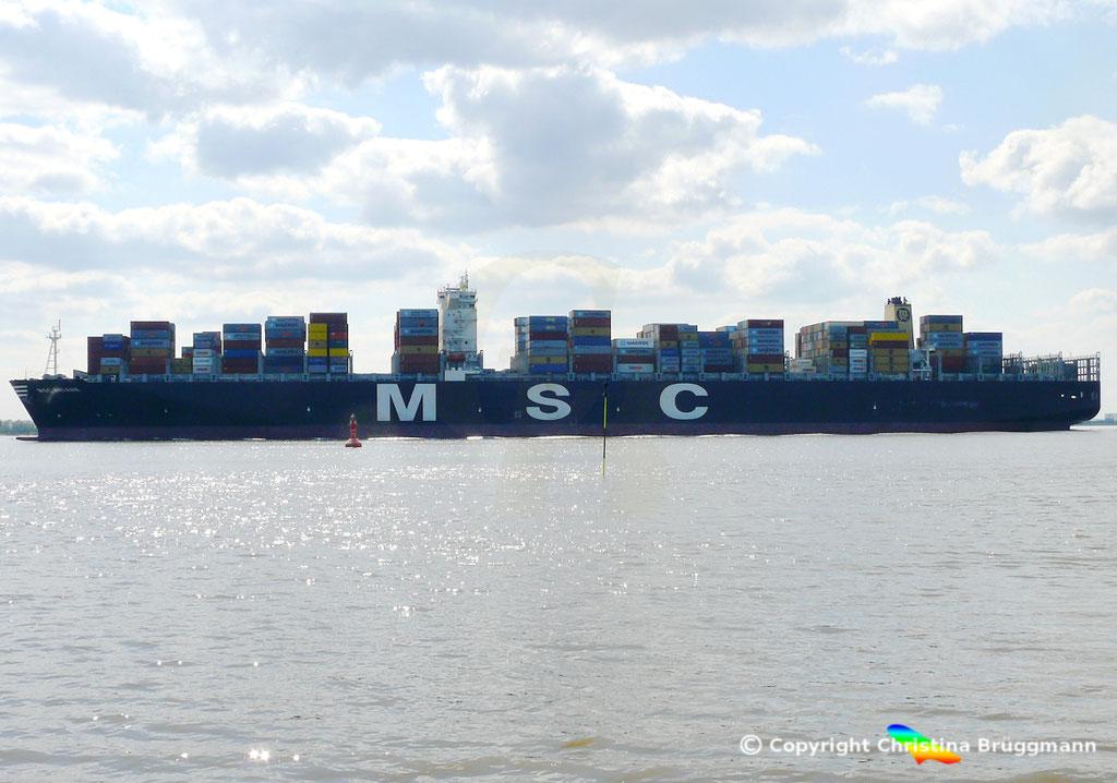 """Containerschiff """"MSC ARIANE""""  Elbe 18.04.2015 / BILD 4"""