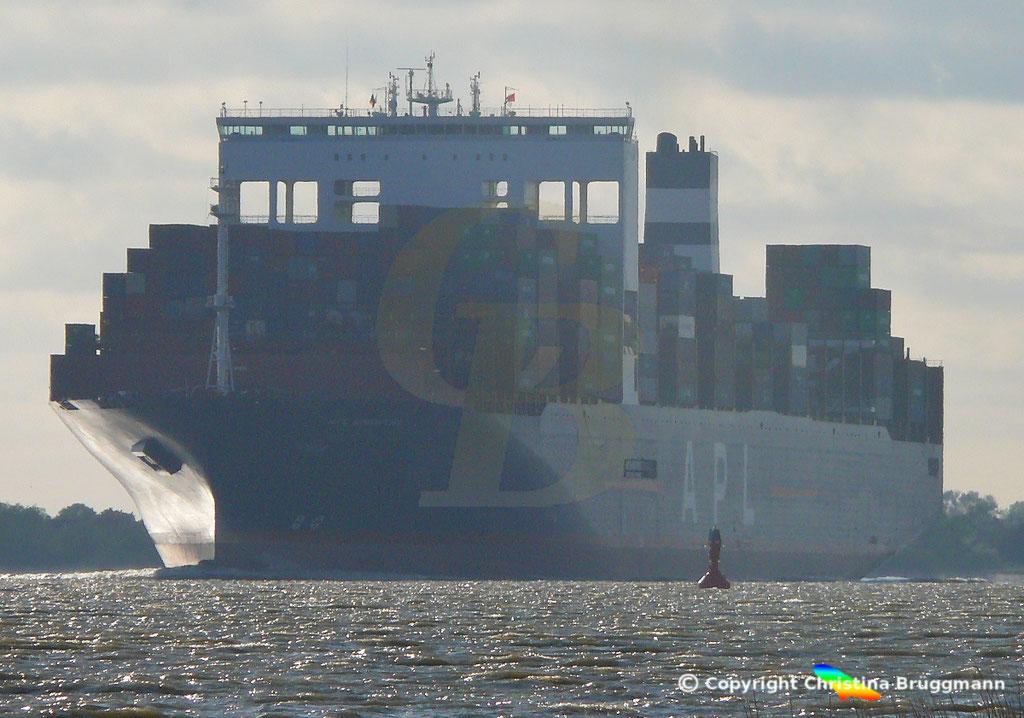 Containerschiff APL SINGAPURA nach Verlängerung, Elbe 22.05.2019,  BILD 5
