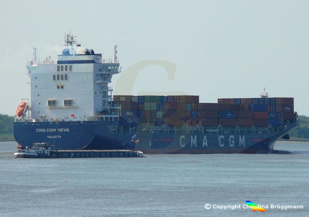 Container-Feeder CMA CGM NEVA, Elbe 04.09.2018,  BILD 6
