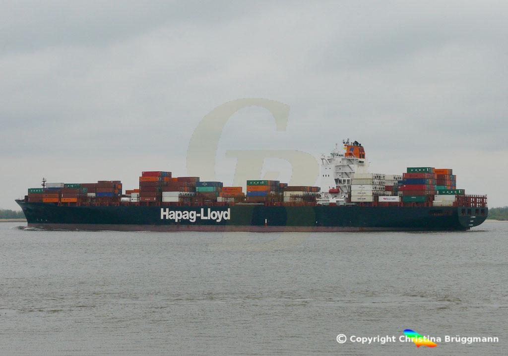Containerschiff AL RAWDAH, Elbe 14.04.2019,  BILD 1