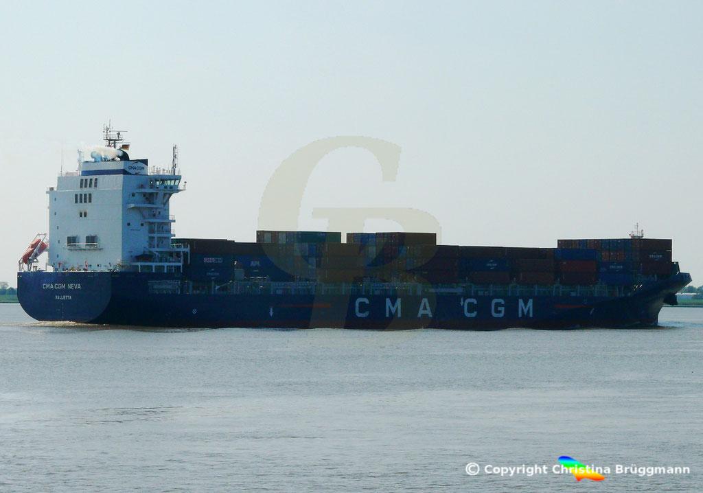 Container-Feeder CMA CGM NEVA, Elbe 04.09.2018,  BILD 4