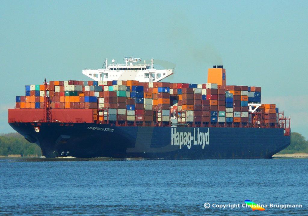 Containerschiff LEVERKUSEN EXPRESS, Elbe 19.04.2017 / BILD 1
