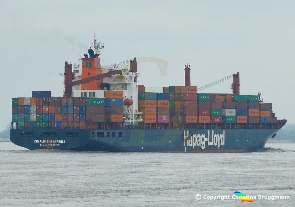 Containerschiff CHARLESTON EXPRESS, Elbe 04.04.2019,  BILD 7
