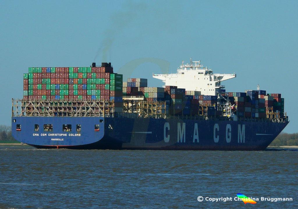 Containertschiff CMA CGM CHRISTOPHE COLOMB, Elbe 01.04.2019,  BILD 6