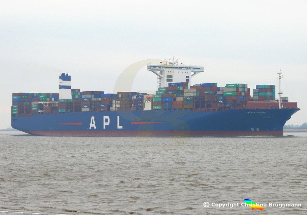 Containerschiff APL FULLERTON, nach Upgrade, Elbe 20.03.2019,  BILD 3