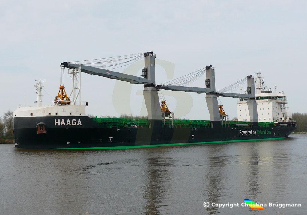Bulk Carrier/Mehrzweckfrachter HAAGA, Nord-Ostsee-Kanal 02.04.2019,  BILD 5