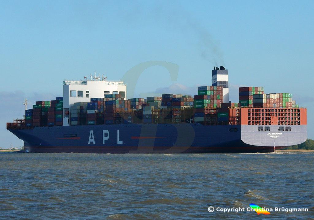 Containerschiff APL SINGAPURA nach Verlängerung, Elbe 22.05.2019,  BILD 7