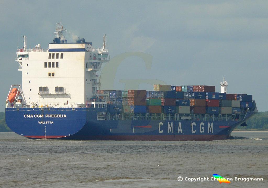 Container-Feeder CMA CGM PREGOLIA, Elbe 10.09.2018,  BILD 6