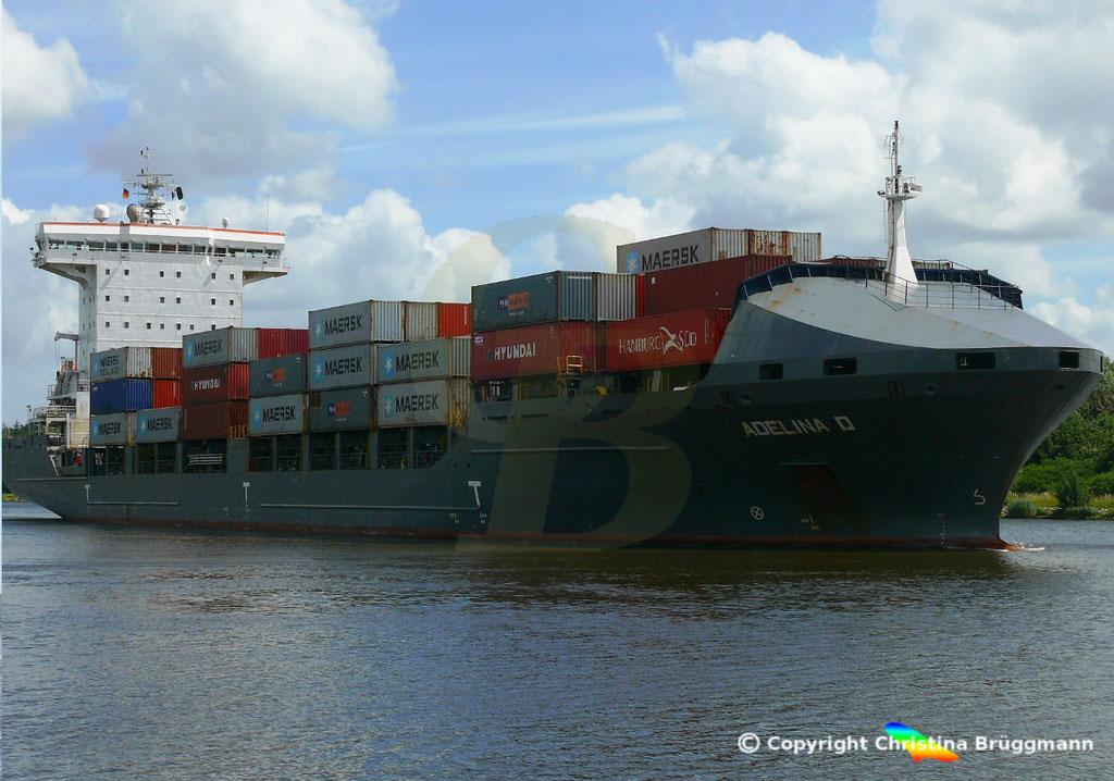Containerschiff ADELINA D, Nord-Ostsee Kanal 22.06.2018,  BILD 2