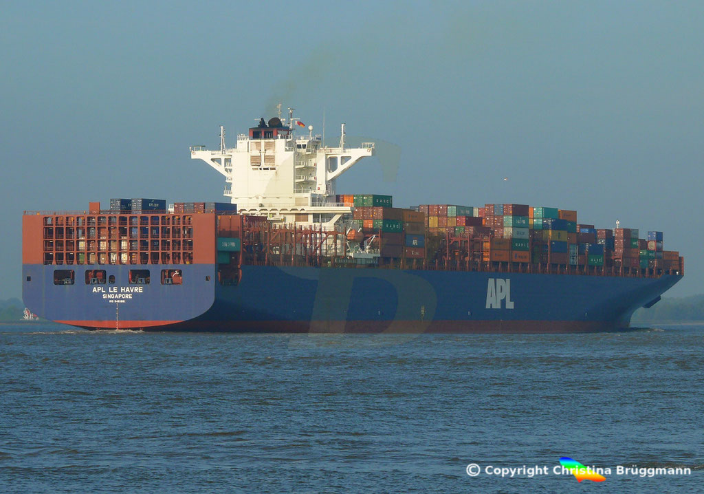 Containerschiff APL LE HAVRE, Elbe 05.10.2018,  BILD 6