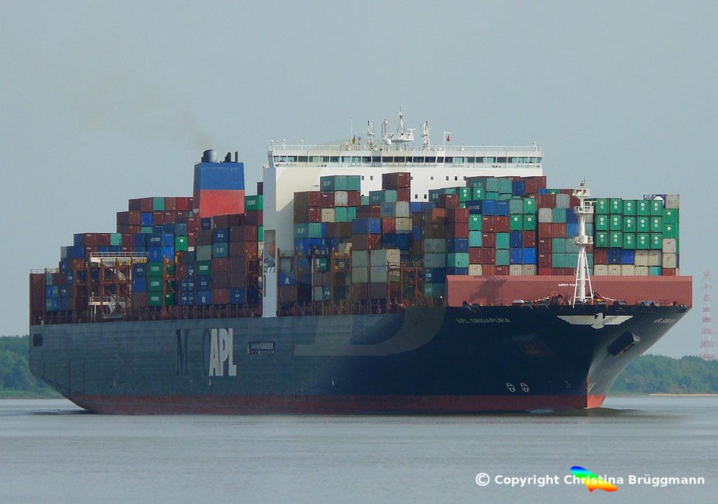 Containerschiff APL SINGAPURA, Elbe 20.07.2018,  BILD 1