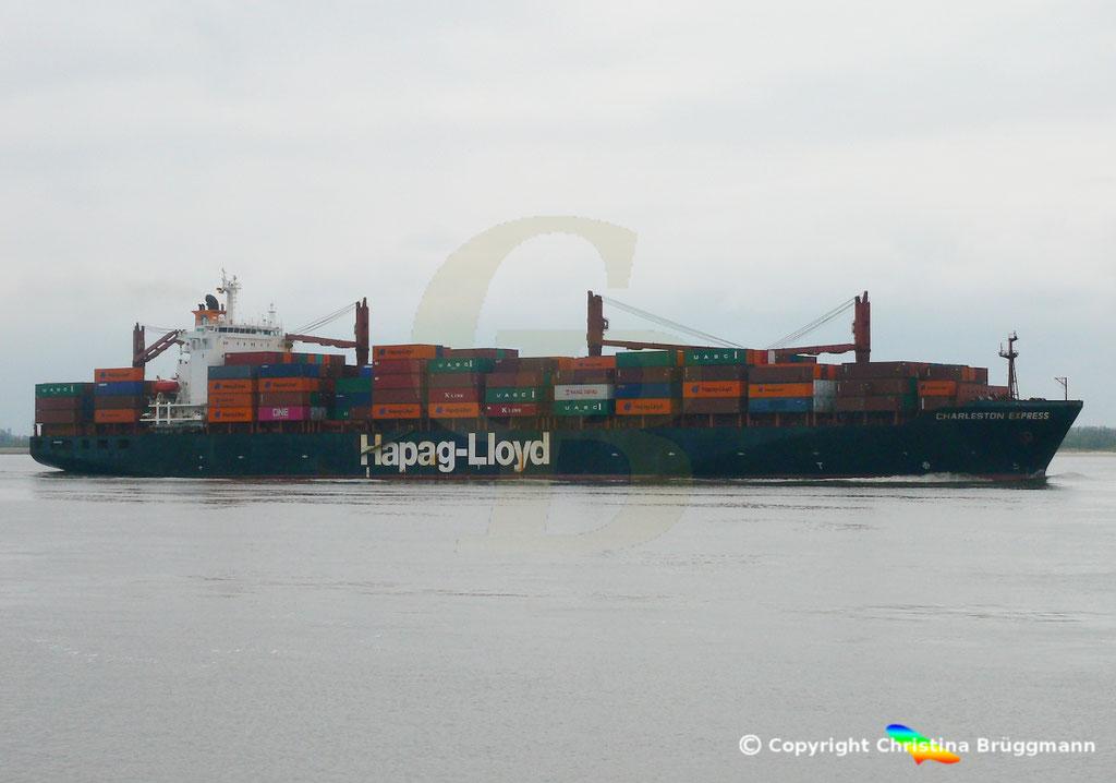 Containerschiff CHARLESTON EXPRESS, Elbe 04.04.2019,  BILD 3