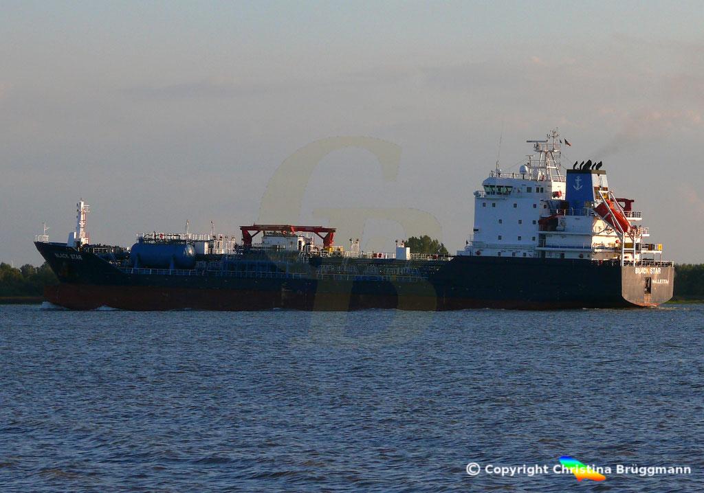 Öl- u. Chemietanker BLACK STAR, Elbe 13.09.2018,  BILD 1