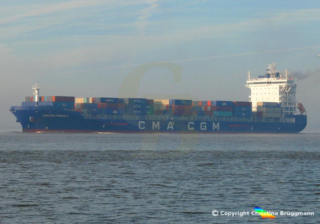 Container-Feeder CMA CGM PREGOLIA, Elbe 03.11.2018,  BILD 9