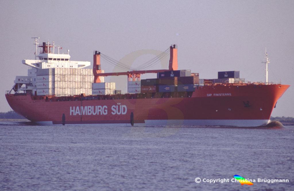 Hamburg Süd Containerschiff CAP FINISTERRE, Elbe 2005,  BILD 2