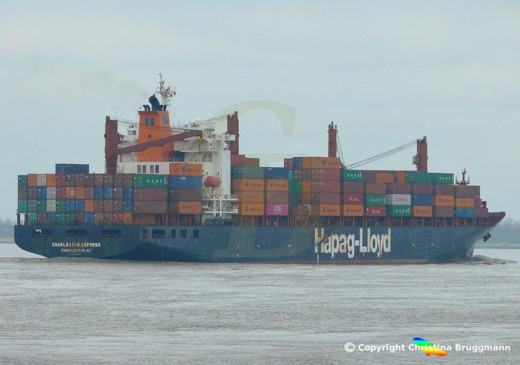 Containerschiff CHARLESTON EXPRESS, Elbe 04.04.2019,  BILD 6