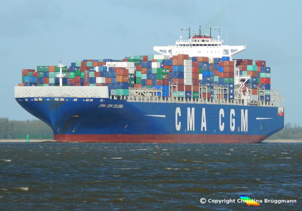 "Containerschiff ""CMA CGM COLUMBA"" Elbe 13.04.2015, BILD 1"
