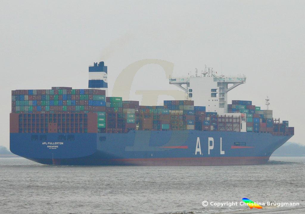Containerschiff APL FULLERTON, nach Upgrade, Elbe 20.03.2019,  BILD 10