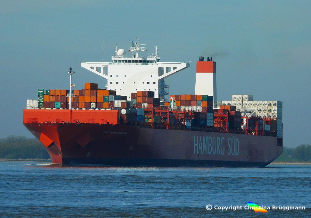 Containerschiff CAP SAN NICOLAS, Elbe 27.03.2017, Bild 3