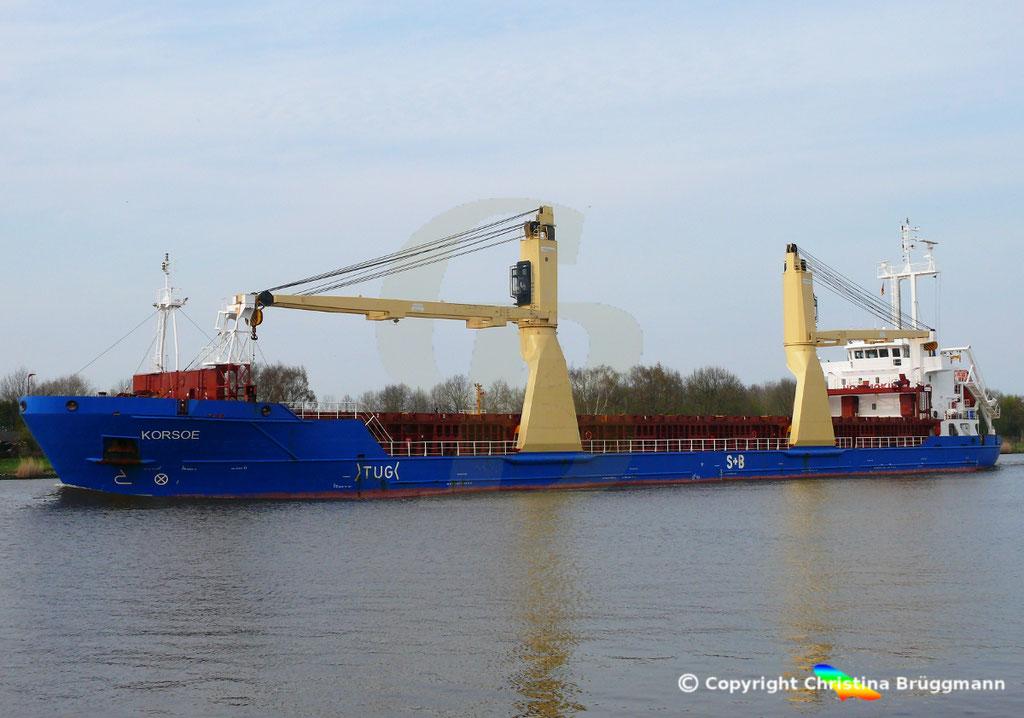 Mehrzweckfrachter KORSOE, Nord-Ostsee-Kanal 02.04.2019,  BILD 3
