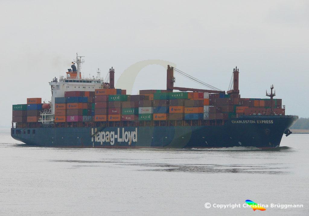 Containerschiff CHARLESTON EXPRESS, Elbe 04.04.2019,  BILD 2