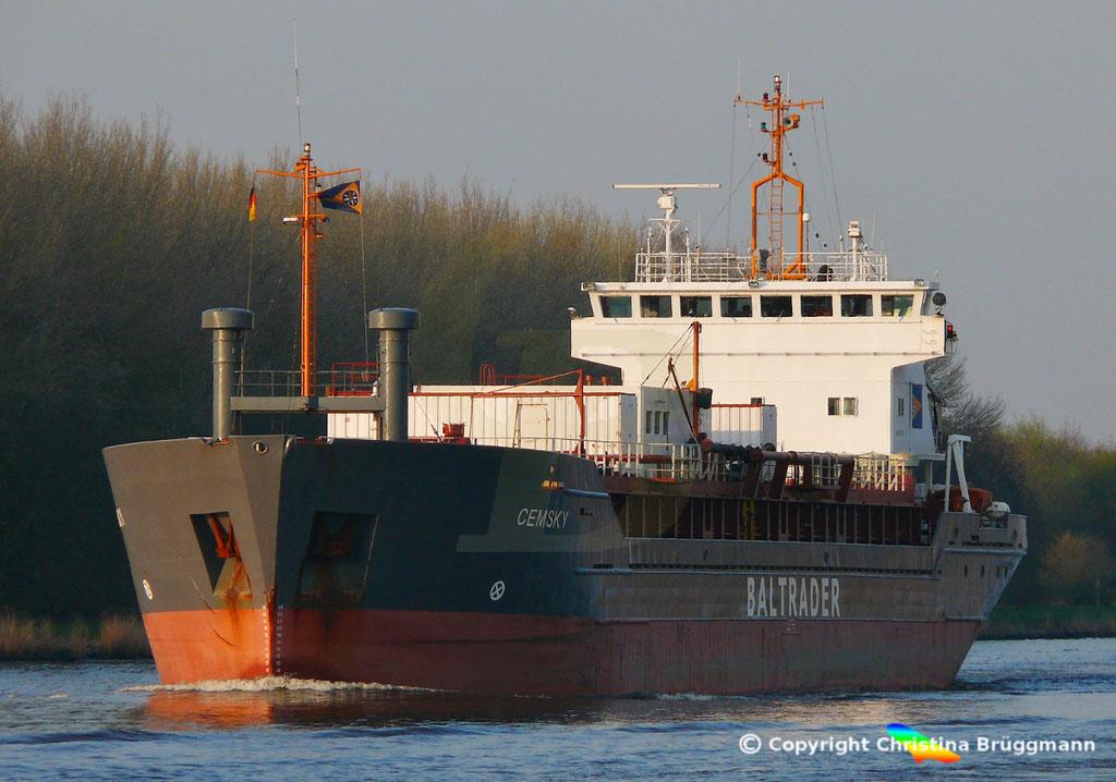 Zementfrachter CEMSKY, Nord-Ostsee-Kanal, 07.04.2029,   BILD 1