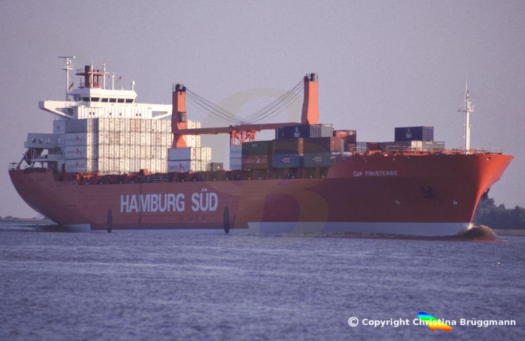 Hamburg Süd Containerschiff CAP FINISTERRE, Elbe 2005,  BILD 1