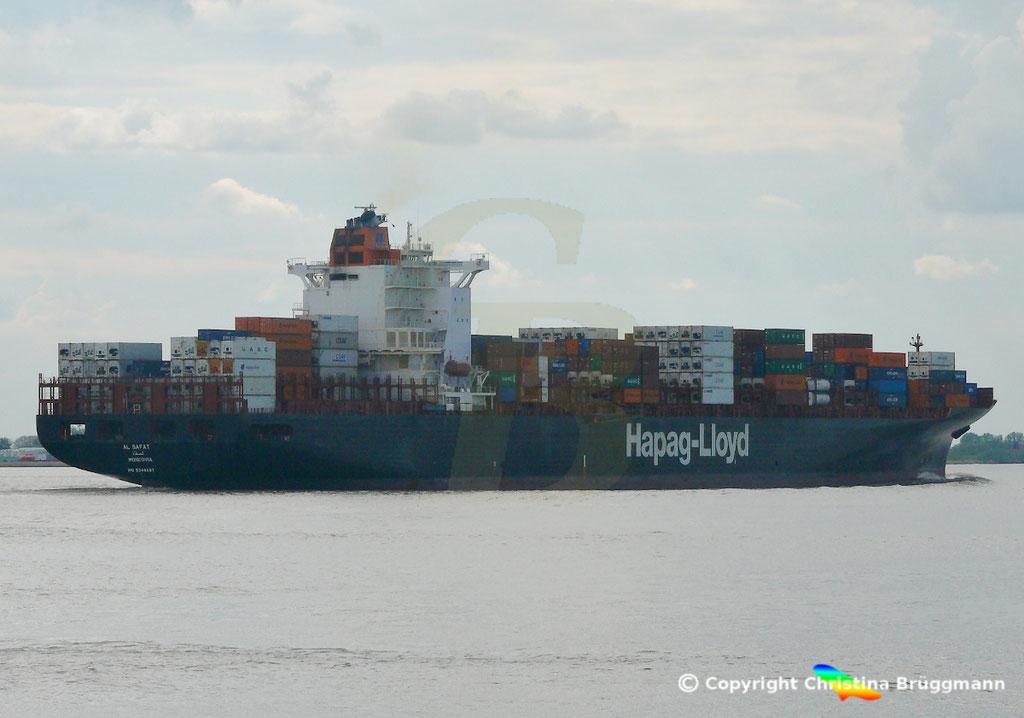Hapag-Lloyd Containerschiff AL SAFAT, Elbe 09.05.2019 /  BILD 4