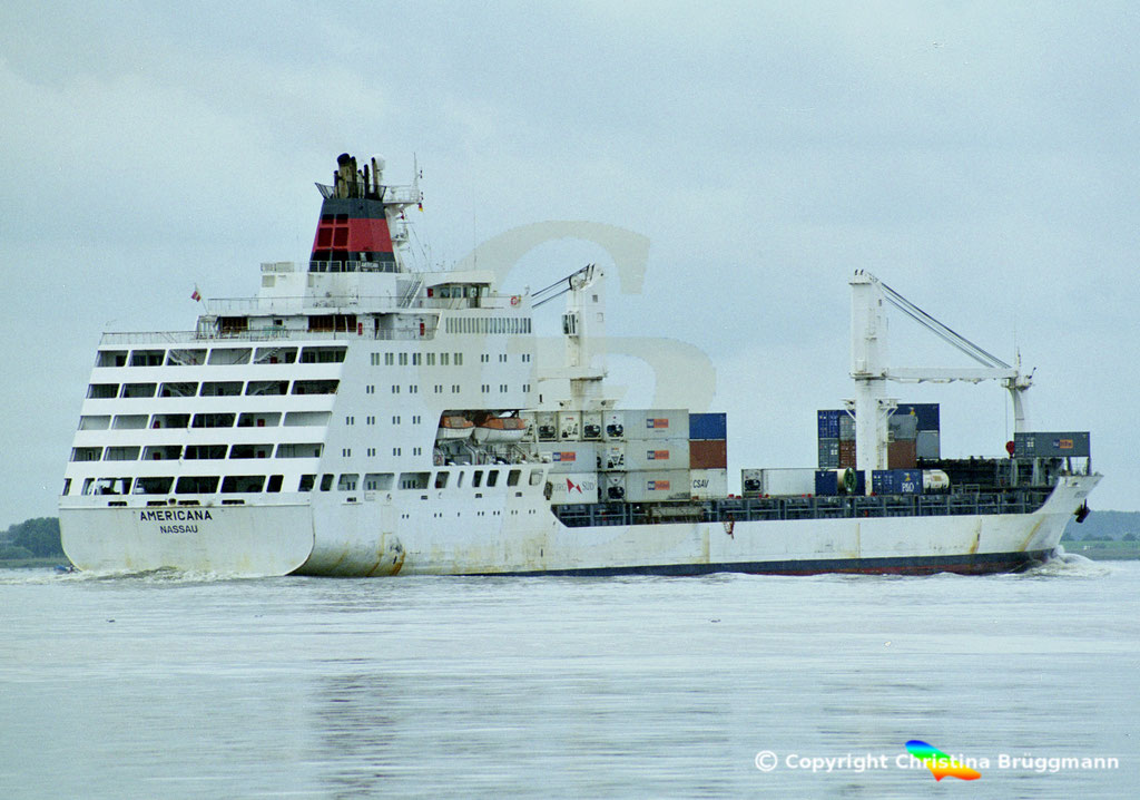Container- / Passagierschiff AMERICANA, Elbe 2002,  BILD 5