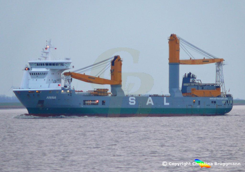 SAL Heavy Lift Schwergutfrachter ANNA, Elbe 30.01.2019,  BILD 1