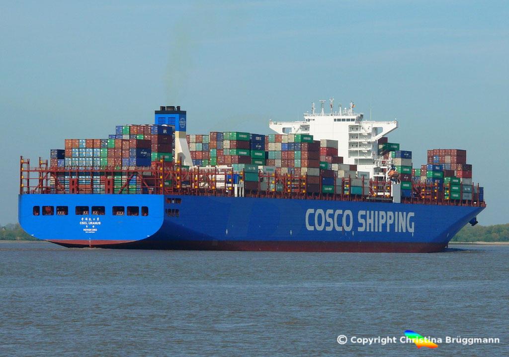 Containerschiff CSCL URANUS, Elbe 11.05.2017, BILD 6