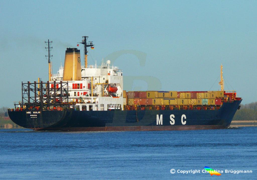 Containerschiff MSC MALIN, Elbe 10.04.2019,  BILD 8