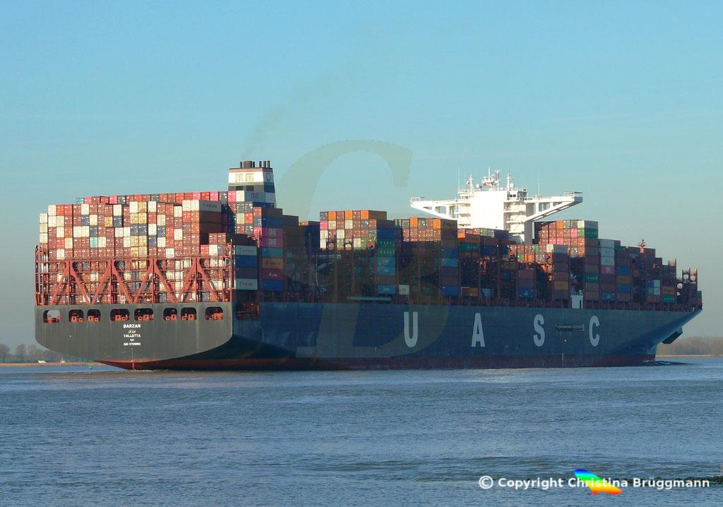 Hapag-Llloyd Containerschiff BARZAN, Elbe 16.02.2019,  BILD 6