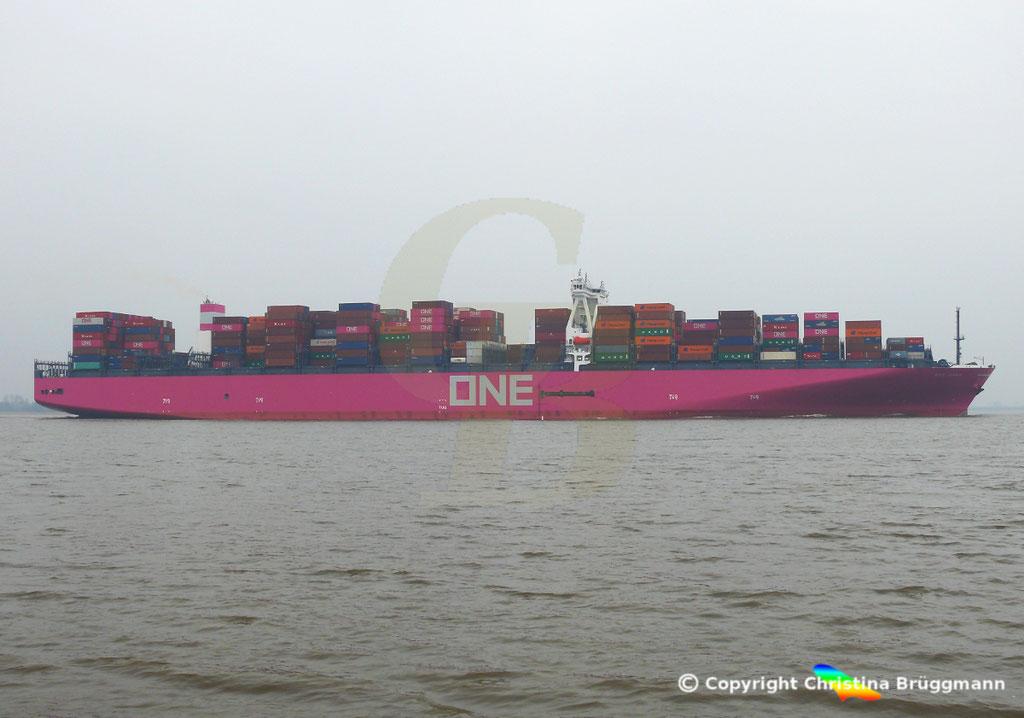 Containerschiff ONE GRUS, Elbe 20.03.2019,  BILD 4