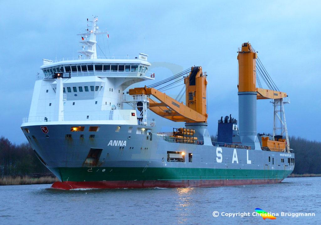 SAL Heavy Lift Schwergutfrachter ANNA, Nord-ostsee Kanal 09.02.2019,  BILD 8