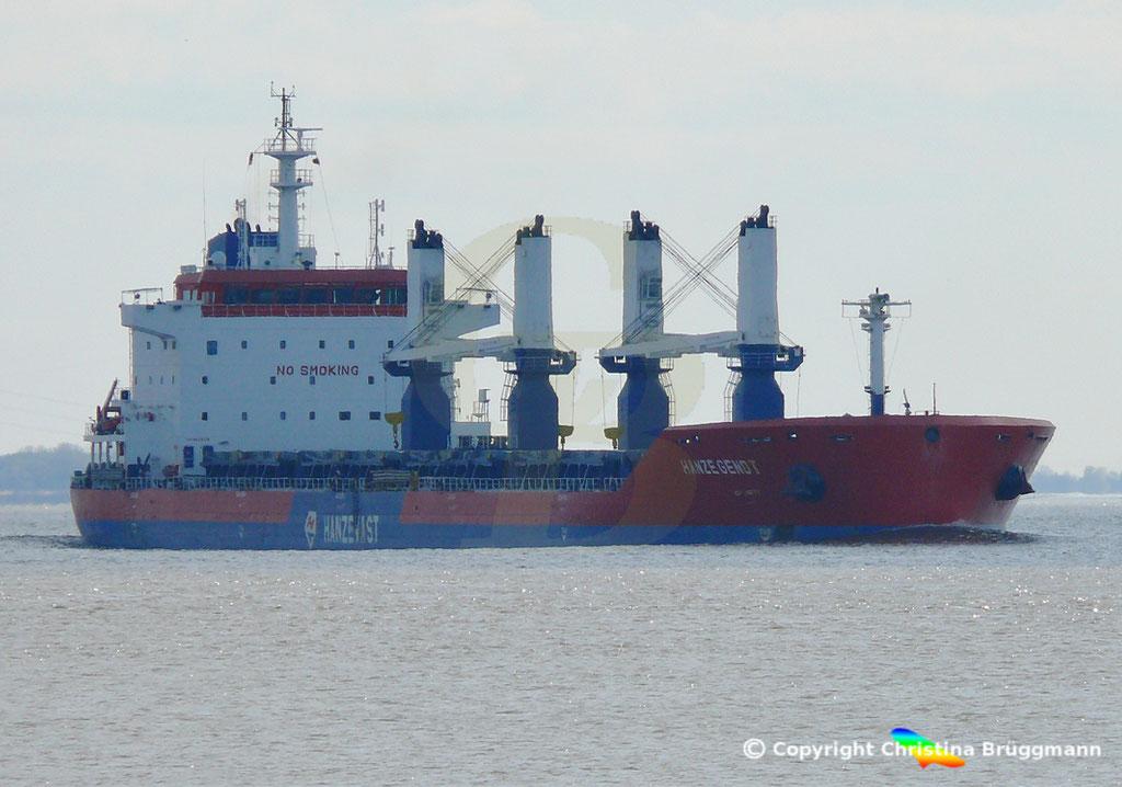 Bulk Carrier HANZE GENDT, Elbe 10.04.2019,  BILD 1