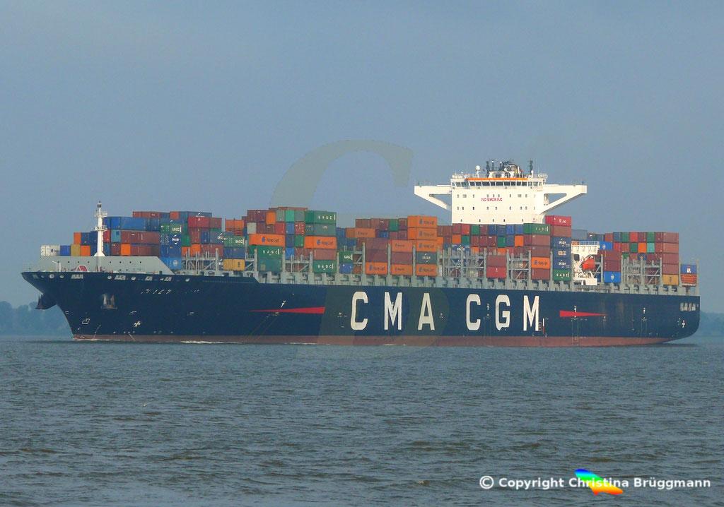 Containerschiff CMA CGM MUMBAI, Elbe 18.07.2018,  BILD 2