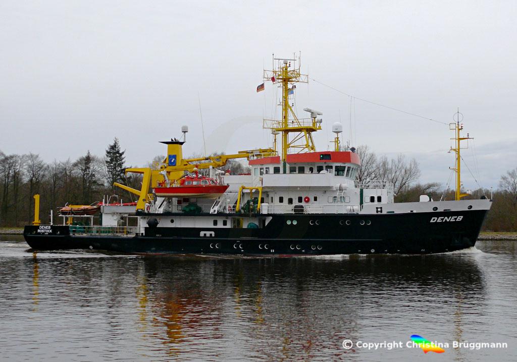 Vermessungs-, Wrachsuch- und Forschungsschiff DENEB, Nord-Ostsee Kanal 04.04.2018, BILD 2