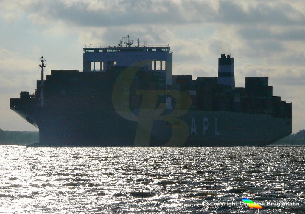 Containerschiff APL SINGAPURA nach Verlängerung, Elbe 22.05.2019,  BILD 6