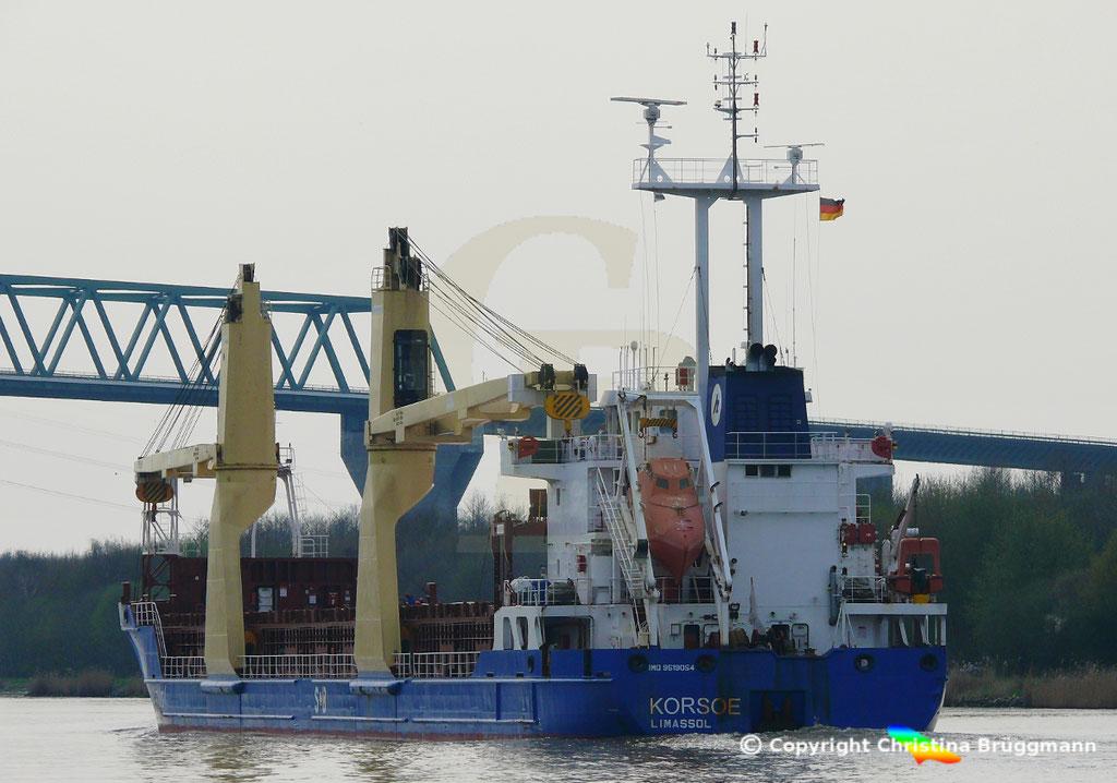 Mehrzweckfrachter KORSOE, Nord-Ostsee-Kanal 02.04.2019,  BILD 5