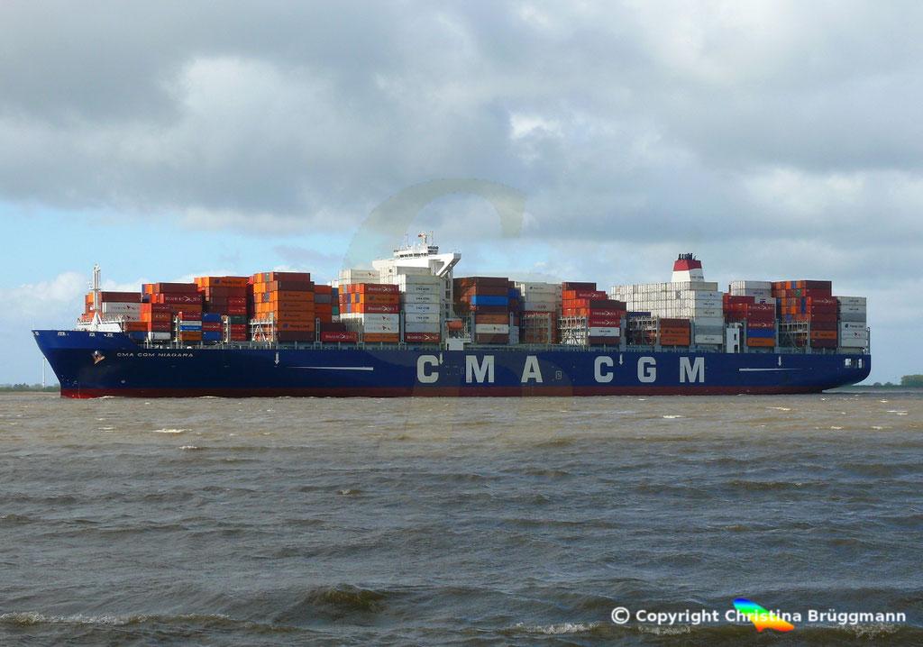 Containerschiff  CMA CGM NIAGARA, Elbe 22.04.2017,  BILD 4