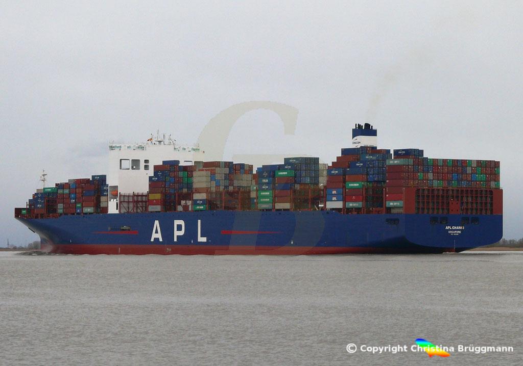 Containerschiff APL CHANGI, nach Verlängerung, Elbe 10.03.2019,  BILD 7