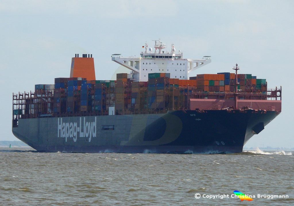 Containerschiff AFIF, Elbe 23.04.2018,  BILD 2