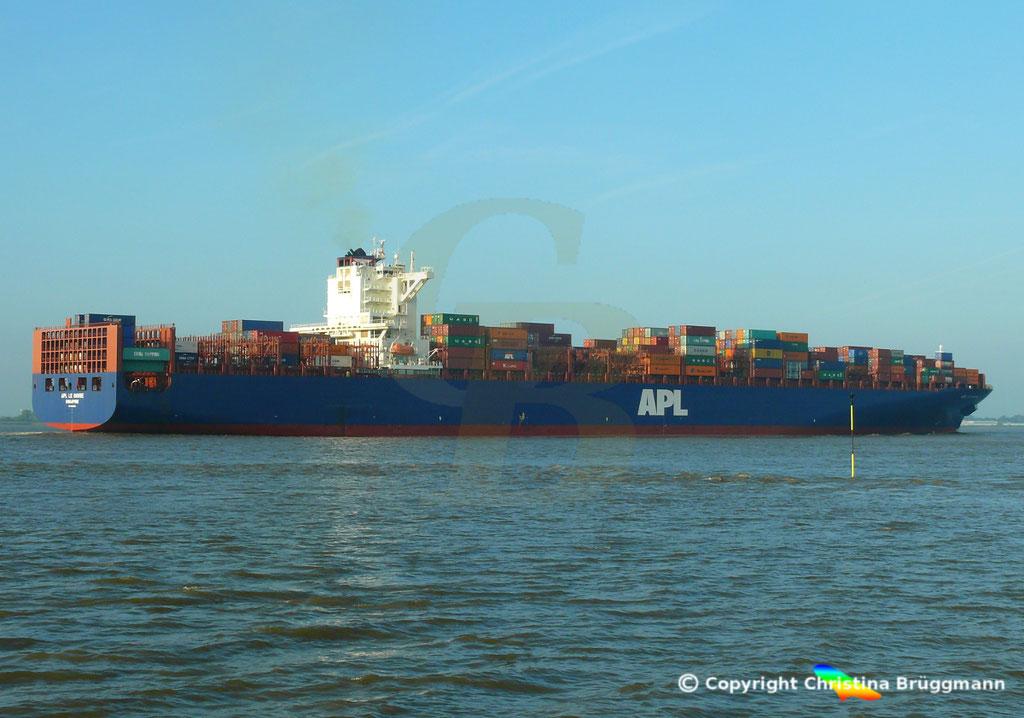Containerschiff APL LE HAVRE, Elbe 05.10.2018,  BILD 4