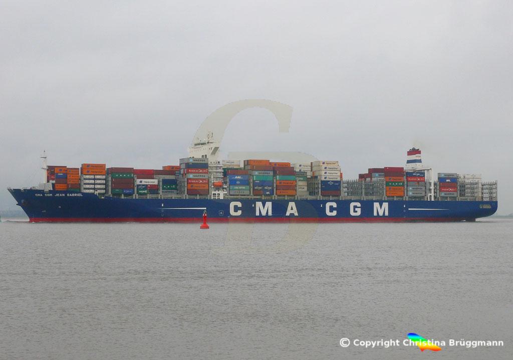 Containerschiff CMA CGM JEAN GABRIEL, Elbe 13.04.2019,  BILD 4