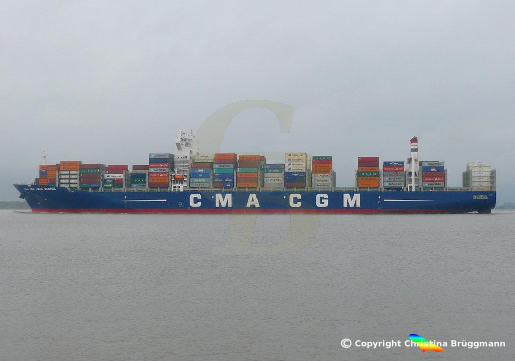 Containerschiff CMA CGM JEAN GABRIEL, Elbe 13.04.2019,  BILD 5