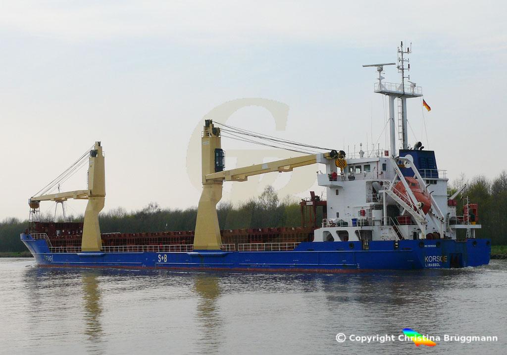 Mehrzweckfrachter KORSOE, Nord-Ostsee-Kanal 02.04.2019,  BILD 4